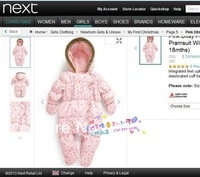 new 2014 autumn winter romper baby costume newborn pink printing cotton romper baby girl overall infant jumpsuits baby wear