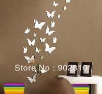 Listed in Stock 45x85cm 18x34in 20pcs/lot Modern Fashion Butterfly Mirror Decal Baby Room Wall Decoration Decal MS361068
