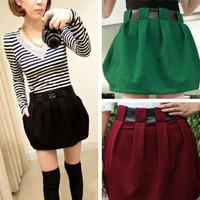 Knitted Skirt fashion short skirt joint Leather Calyx divided skirt W3324