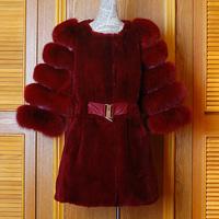 Fashion rex rabbit velvet mink claretred gourd medium-long fur coat