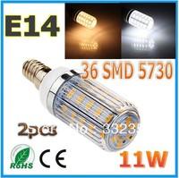Free shipping 2x 5730SMD 36LED 11W  E14 E27 B22 G9 GU10 110V/220V Corn Bulb Light Lamp LED Lighting Warm/Cool White Glass Cover