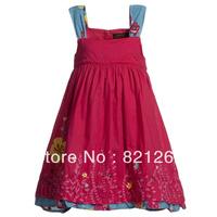 2014 newest catimini spring summer children clothing girls sleeveless Sling dress flowers brand high quality fashion 3-12T