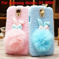 Cute Cartoon Rabbit Plush Villi Leather Case 3D Bling Bowknot ring Cover For Samsung Galaxy S4 i9500 Free shipping 10pcs/lot