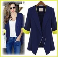 ZA** WOMAN SUIT BLAZER FOLDABLE BRAND JACKET women clothes suit Zipper shawl cardigan Coat  blue,white S,M,L,XL