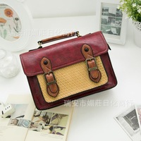 New wind weave women messenger bag retro leisure women leather satchel stylish vintage leather satchel briefcase