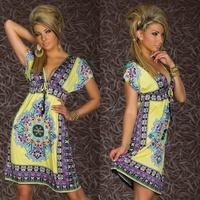 Fashion Retro 1960s 1970s Vintage Paisley Print V Neck Hippie Bohemian Summer Dress Women Beach Dress 4178