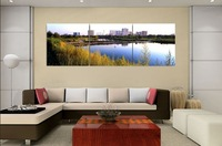 3 Piece Free Shipping Hot Sell Modern Wall Painting  Home Decorative Art Picture Paint on Canvas Prints Tall buildings and lakes