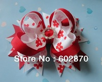 "Free shipping 10pcs/lot  4"" Stacked Bows Boutique Hair Bows with  rhinestone buckle high quality&very low price"