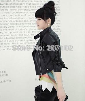 ! Женщины faux leather;zip-up, cropped Кожа PU является высокотехнологичным и высокосортным ...