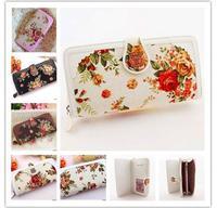 Good Quality Cheap Women PU+Canvas Flowers long design Wallets Women Wallets Free shipping