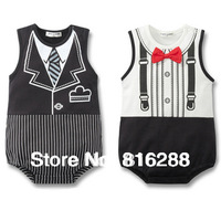 Cotton baby gentleman bodysuit baby boy triangle bodysuit baby summer clothing sleeveless