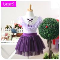 2015 Summer Grils short sleeve T-shirt Skirt Set Tutu 100% COTTON Lace Purple Pink Kids Clothing Set  New Arrival Quality