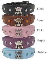 Pet supplies dog accessories pet collar dog collar leather skull rhinestone decoration 5-color