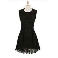 Women's Above Knee Lace Sleeveless Tank Dress Yellow Black Size S-XL Hollow Embroidery Dress Summer 2014 European American New