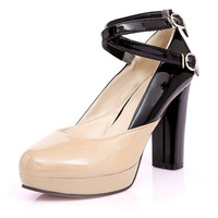 2014 fashion new double-strap buckle patent leather high heels lady wearing platform pump heels  big size34-44 shoes