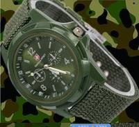 2014 Solider Military Army Men's Sport Wathces Style Canvas Fabric Belt Luminous Quartz Wrist Watch 154