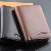 M19 Promotion! casual solid pattern men genuine leather Cross paragraph Money clips&wallet_High quality man wallet