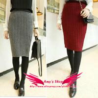 new 2013 winter warm knee-length short skirt  knitted slim hip winter skirt  casual skirt bodycon fashion skirts