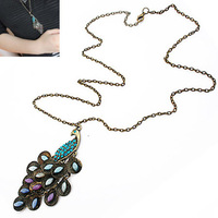 New brand2013 SALE! The south Korean star - fashion ShanZuan peacock princess long necklace (random color) Free shipping