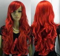 Wholesale made Kanekalon fibre Wig NEW long red curly full like human made hair wig Party wig