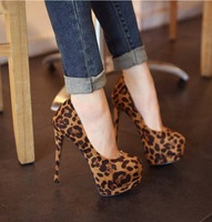 NEW Women High Heels Pumps Stiletto Platform Sandal leopord round head Shoes 9