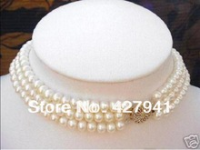 2014 Seconds Kill New Arrival Freeshipping Plant Long Necklace Real-cultivation-pearl-3-strand-7-8mm-white-pearl-choker-necklace (China (Mainland))
