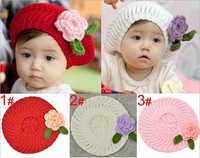 Cute Handmade Crochet Hat Baby Berets With Flower,Infant Wool Knitted Hats,Kids Beanie Baby Cap,Chidren Winter Hats