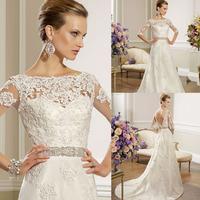Gorgeous Illusion Neckline Satin Long Train Crystal Sash Lace Applique Sleeve Wedding Dress 2014
