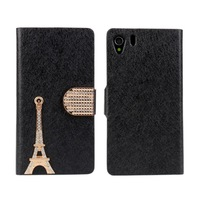 Free Shipping Luxury Gold Tower Stand Leather Cover for Sony Xperia z1 L39H Wallet Case with ID Card Slot