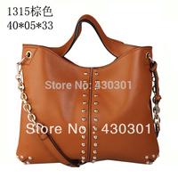 2013 women PU leather Michaels boston bag gold rivet vintage designer brand tote and high quality handbag, free shipping