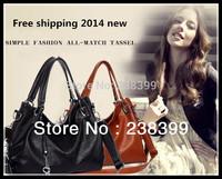 2015 Fashion Women PU Leather Handbag  Women Tassel Bag Vintage Shoulder Bag Women Messenger Bag Crossbody Bag Women tote bolsas