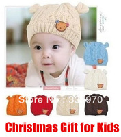 Wholesale 5PCS/LOT Newest Winter Crochet Cute Knitted Hat Newborn Baby Photography Props Lovely 3D Bear Costume Baby Hats & Caps