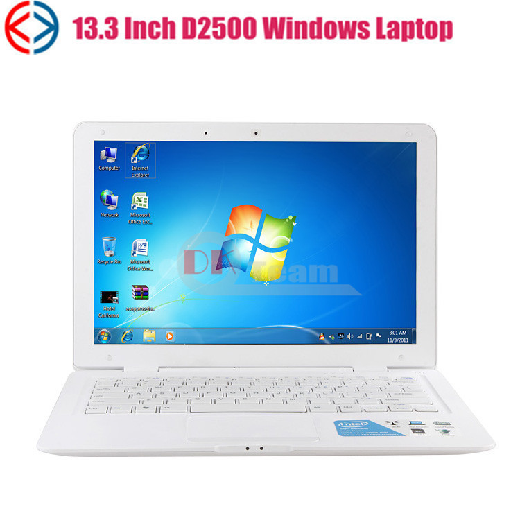 13.3''mini laptop computer Intel D2500 (2G,320G) Dual core 1.86Ghz Windows7 /windowsXP laptop with webcam wifi netbook(China (Mainland))