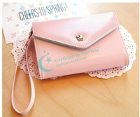 14 * 9 * 3cm Portable Fashion Ladies Solid Color Three-Tier Zipper Card Package Wallet Drop Shipping/Free Shipping