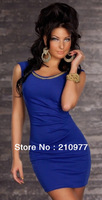 864 free shipping 2013 women new fashion exotic red black blue sexy lingerie clubwear cocktail dress party dress + chain