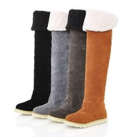 2013 Fashion Lady Winter Flat Knee-High Long Snow Cotton Boots Free Shipping