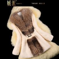 Autumn Ladies' Natural Rabbit Fur Coat Jacket Raccoon Fur Collar Winter Women Fur Trench Outerwear Coats Plus Size VK2217