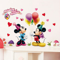 Free shipping removable Hot sale cartoon kids Minnie&mickey mouse home decor wall stickers