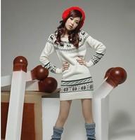 Winter women's 2013 onta slim o-neck long sweater knitted basic shirt