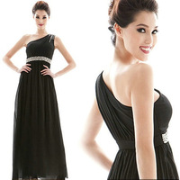 Fashion one shoulder slim waist diamond slim long design the prom evening dress full dress winter dress
