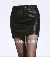 Free Shipping ! Fashion hin thin LEATHER SKIRT / midiskirt above knee Women skirt /Short skirts M-XXXXL DK 0012