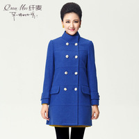 Plus size clothing 2013 autumn mm fashion double breasted woolen outerwear overcoat 13770
