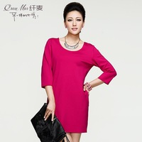 2013 plus size mm autumn clothing formal solid color all-match 13560 one-piece dress