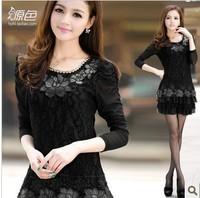 Free shipping new 2014 large size chiffon women dress cake lace applique stitching Slim bottoming large girl dress