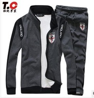 2013 Wholesale Autumn winter sport suit collar men fashion sportswear  clothing set free shipping
