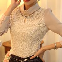 2014 New Fashion Elegant  Slim Turtleneck Long-sleeve Big Size Lace Blouse Female Basic Shirt Top Necklace Decoration S-XXL