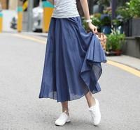 Long skirt bohemian skirts women candy colored fairy skirt big