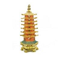 decoration art style Patchwork alloy wenchang tower decoration multicolour Small wenchang tower yakuchinone t123414