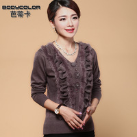 promotion cheap new 2013  autumn basic shirt slim sweater middle-age women V-neck sweater