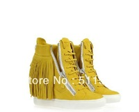 New GZ Height Increasing Sneakers For  Women  GZ High Shoes Suede Leather Tassels Shoes EUR size 34-41 Free Shipping